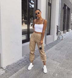 High Waist Cargo Pants - LePastell Concealed fly with button fastening Functional pockets Cargo design Fitted cuffs Tapered leg Regular cut Fits you just right. SEE DETAILS Jogger Outfit, Cargo Pants Outfit, Cargo Pants Women, Pants For Women, Clothes For Women, Women's Pants, Boyfriend Pants Outfit, Adidas Pants, Blue Pants