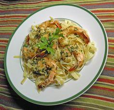 Garlic Shrimp Over Tagliatelle Pasta