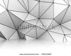 Abstract white 3d interior, chaotic polygonal relief pattern on the wall with black metal wire-frame mesh structure