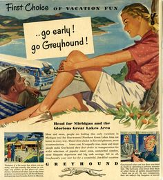 "go Greyhound! ""Eastern and Central Michigan Playtime Book,"" East Michigan tourist Assoc., Assorted Publications"