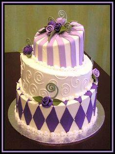 purple topsy turvy cake