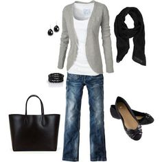 LOLO Moda: Stylish women casual wear..love the jeans, tee, and cardigan combination for an outfit. Never thought of flats, scarf, and a large tote bag..but I like them.