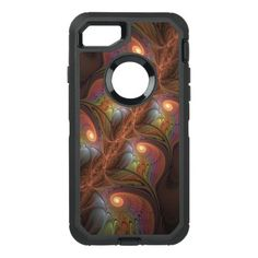 Colorful Fluorescent Abstract Modern Brown Fractal OtterBox Defender iPhone 8/7 Case - light gifts template style unique special diy