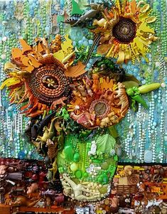 Three Sunflowers After Van Gogh by Jane Perkins