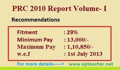 PRC 2010 Report Vol-I, 27% fitment, Master Scale RecommendationsPRC 2010, 10th PRC Recommendations Report Volume-I for AP, 10th Pay Commission report a comprehensive analysis, Master Pay Scale of RPS 2010The pay commission has suggested 29 percent of fitment to the both  Govt employees of AP and TS as per GO.95