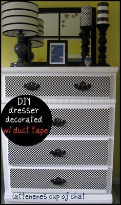 White Dresser Updated with DUCT TAPE!