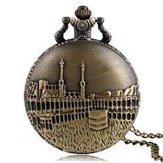 Bronze Fashion Castle Pattern Quartz Pocket Watch Women Men Vintage Necklace Pendant Chain Antique Style Reloj De Bolsillo Gifts