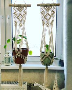 Macrame Plant Hanger, Macrame Cotton Boho Planter, Hygge Macrame Plant Holder on Stick, Modern Macrame Pot Hanger, Valentines Gift Idea - Alisa- Etsy Macrame, Macrame Art, Macrame Projects, Macrame Knots, Garden Projects, Hygge, Art Macramé, Pot Hanger, Macrame Plant Holder