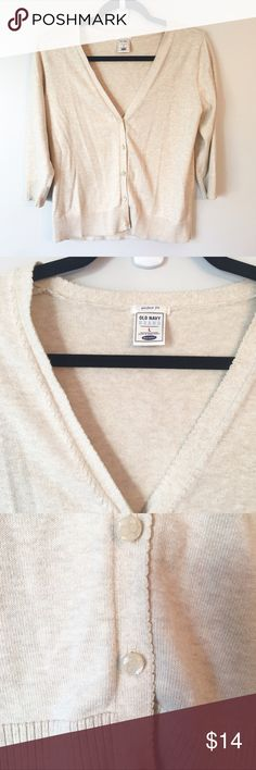 Soft Classic Cardigan This Old Navy Cardigan is a pretty, light beige color and is in great condition. It's light weight, soft and has a classic, flattering fit. Reasonable offers welcome and don't forget to bundle for a discount!   Xoxo -J Old Navy Sweaters Cardigans