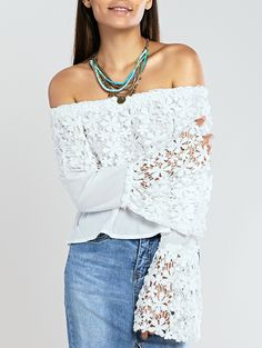 Sweet Crochet Off The Shoulder Lace Trim Bell Sleeve Blouse