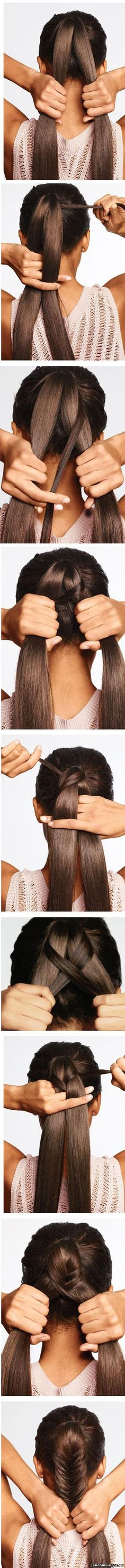 Easy hairstyles for everyday - Fishtail braid ponytail Pretty Hairstyles, Braided Hairstyles, Wedding Hairstyles, Fishtail Braids, Braid Ponytail, Updo, Hair Day, Hair Designs, Hair Looks