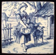 William Wise Country Life Tile ~ Girl with Goat 1882
