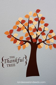 """Another cute idea for a """"Thankful Tree""""--vinyl wall cling for the tree & then make your own leaf cutouts (she uses a Silhouette).  Maybe find an easy way to store this & just be able to pull it out & put it up every year."""