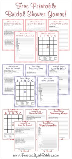 Free printable bridal shower games. Shower Gift Bingo great way to keep people involved.