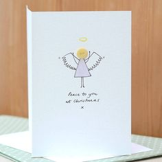 Personalised Handmade Button Angel Card Button Christmas Cards, Christmas Fonts, Personalised Christmas Cards, Button Cards, Homemade Christmas Cards, Christmas Angels, Homemade Cards, Angel Cards, Xmas Crafts