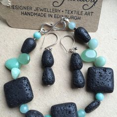 Gemstone Lava Bracelet and Lava Stone Earrings, Gemstone Jewellery Set, Gemstone Bracelet and Lava Earrings, Handmade Jewellery in Edinburgh