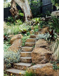 Backyard Garden Design, Garden Landscape Design, Garden Landscaping, Bush Garden, Green Garden, Retaining Wall Design, Australian Garden, Most Beautiful Gardens, Natural Garden