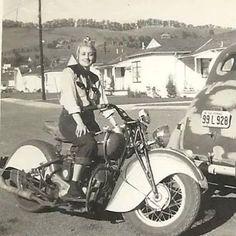 Rockin' her Sport Scout – – Motobike Lady Biker, Biker Girl, Triumph Motorcycles, Mv Agusta, Ducati, Motocross, Indian Motors, Vintage Indian Motorcycles, Rockabilly Cars