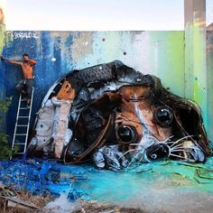 "StreetArtNews no Instagram: """"Trash Puppy"" New Street Installation by Bordalo II in Lisbon, Portugal #streetart #streetartnews @b0rdalo_ii"""