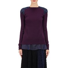 Sacai Women's Combo Layered Sweater (€265) ❤ liked on Polyvore featuring tops, sweaters, purple, lacy sweater, lightweight sweaters, cut out sweater, layered tops and purple top