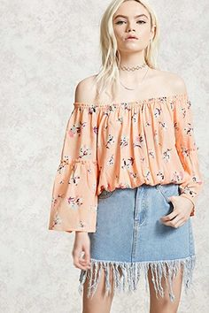 ¡Cómpralo ya!. Floral Off-the-Shoulder Top. details   A crinkled woven top featuring an allover floral pattern, an off-the-shoulder neckline, long bell sleeves, and elasticized trim.  Content + Care   - 100% rayon- Hand wash cold- Made in China  Size + Fit  - Model is 5'4%22 and wearing a Small- Full length: 14.5%22- Chest: 32%22- Waist: 30%22- Sleeve length: 18%22 , tophombrosdescubiertos, sinhombros, offshoulders, offtheshoulder, coldshoulder, off-the-shouldertop, schulterfreiestop…