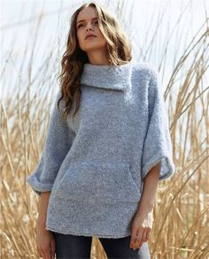 Poetry - Oversized Boucle Sweater - Wonderfully light but very warm, this bouclé knit, oversized sweater is a luxe alternative to a jacket. Relaxed styling with a wide, asymmetric cowl neck, a skater-girl pocket and loose three-quarter length sleeves. 89% alpaca  11% polyamide