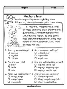 Here are three reading comprehension exercises in Filipino for primary grade students. Each exercise has a short and simple paragraph and six multiple-choice questions. Please read the Terms of Use in the PDF file. Downloading the file means you agree to abide by the Terms of Use. To print the downloaded PDF file, open the … Reading Comprehension Grade 1, 1st Grade Reading Worksheets, Comprehension Exercises, Reading Passages, Kindergarten Reading, Math Worksheets, Filipino Words, Short Stories For Kids, Tagalog Quotes