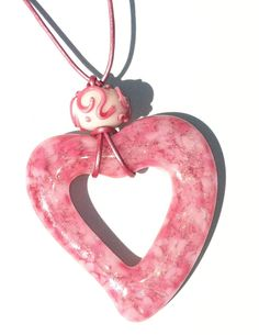 Pink fused glass heart