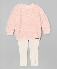 Pink & White Plush Tunic & Leggings - Infant, Toddler & Girls #zulily #zulilyfinds