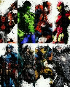 Splatter art of Marvel heros (and deadpool) << last pinner. Deadpool is a Marvel hero