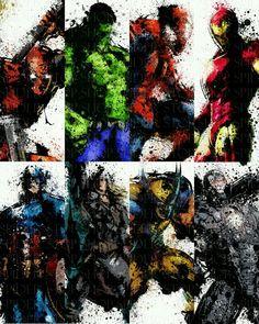 Splatter art of Marvel heros (and deadpool)