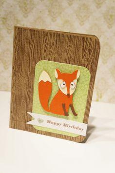 Check out this cute fox birthday card on my blog: http://thegreencricut.blogspot.ca/  #cricut #fox #woodgrain #wildcard2 #kraft #happybirthday #crafts #quick #clean #simple #cute #cards #birthdaycards #cornerchomper