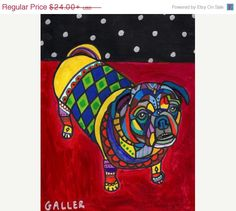 Surprise 50% Off Sale- Pug Art Dog Modern Art Poster Print of painting by Heather Galler of Painting - Heather Galler (HG785)