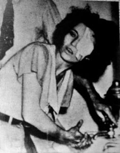 Blanche Barrow in prison, her eye was injured by broken glass in a shoot out.
