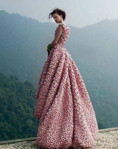Romantic Rose Crochet Gown
