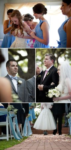 Blue Bridesmaid Dresses, Baby's Breath on Aisle Chairs http://www.mirandalainephotography.com/  http://thesimplifiers.com/
