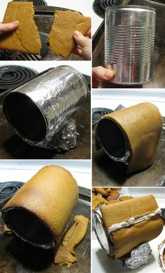 Great gingerbread tip. How to curve gingerbread around a tin can.