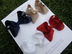 "Large 4"" School Uniform Hair Bow Set: Navy Blue, Oatmeal Khaki, White and Cranberry Red"