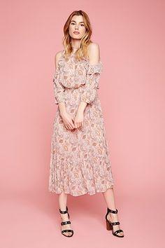 Open-Shoulder Floral Maxi Dress