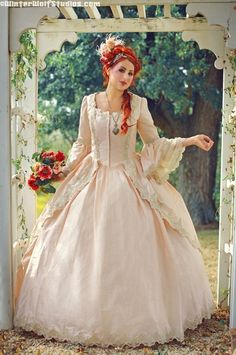 Dusty Rose and Champagne Marie Antoinette Gown Custom. $950.00, via Etsy.