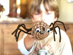 Let's Make a Pine Cone Spider for Halloween - The Magic Onions
