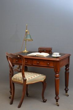Early Victorian Writing Table in Mahogany Barbie Furniture, Art Furniture, Antique Furniture, Victorian Interiors, Writing Table, Home Libraries, Antique Desk, Decorative Items, Interior Design