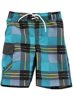 fa6bd8bd769c5 FishFace Kids Boys Board Shorts 1206017B (Grey-Plaid, 4): Yankee Toy Box LLC