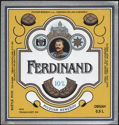 Czech beer brand Czech Beer, Beer Brands, Beer Labels, Ferdinand, Brewing, Alcohol, Logos, Drinks, Root Beer