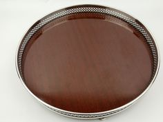 Vintage silverplate round rimmed bar or cocktail serving tray melamine center #WmARogers