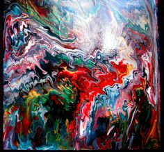 Great gift Vibrant liquid art poured painting by ArtbyPamelaHenry, $100.00