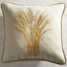 Our embroidered pillow depicts a sheaf of wheat, an enduring symbol of a generous harvest. Made of UV-resistant fabric and plumped with poly fiberfill, our pillow will look as pretty on your patio as it does in your living room.
