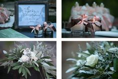 Perfectly combined details of the welcome table - favors, guestbook, candles and a handwritten frame by MAZI-Event.