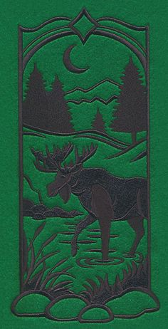 Wild Woods Silhouette - Moose design (M7663) from www.Emblibrary.com
