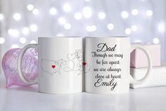Long Distance Mug Mother & Daughter / Mother and Son, Father And Daughter and Father + Son, Long Distance Girlfriend or distance boyfriend Long Distance Mugs, Distance Love, Country Boyfriend Gifts, China Mugs, Family Love, Father And Son, Mug Designs, Mother Gifts, Valentine Gifts